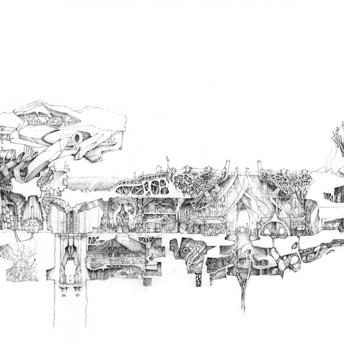 Matthew Poon's drawing for the Architectural Drawing Prize, a highly complex structure in profile