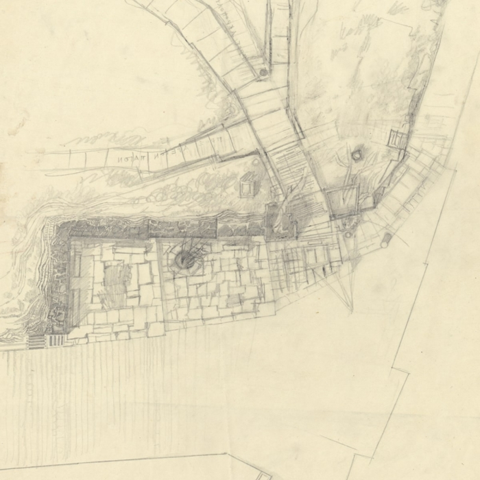 Top-down pencil drawing representing a part of the Acropolis