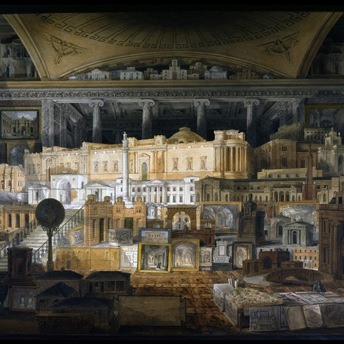 A painting by JM Gandy depicting all of the buildings that Sir John Soane designed, brought together in a fictitious room