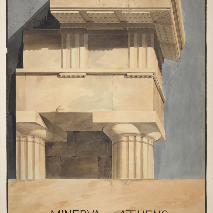 Royal Academy lecture drawing showing a detail in perspective of the Greek Doric capital and entablature from the Parthenon