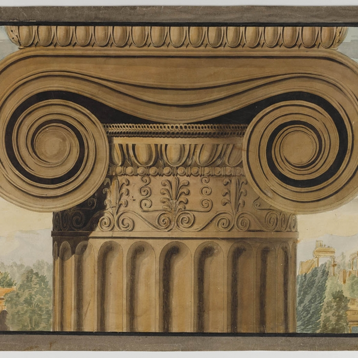 Royal Academy lecture drawing showing a detail in perspective of the Ionic capital from the Erechtheion