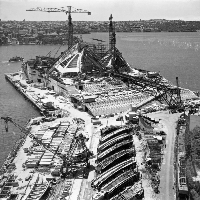 Black and white aerial photograph of Sydney Opera House under construction
