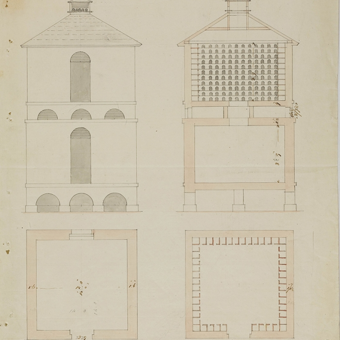 Architectural Drawings of a classical pigeon house