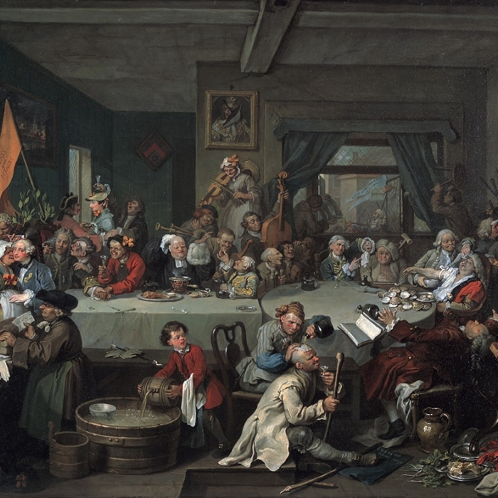 William Hogarth (1697 - 1764), An Election I: The Election Entertainment, 1754-55, Oil on canvas.