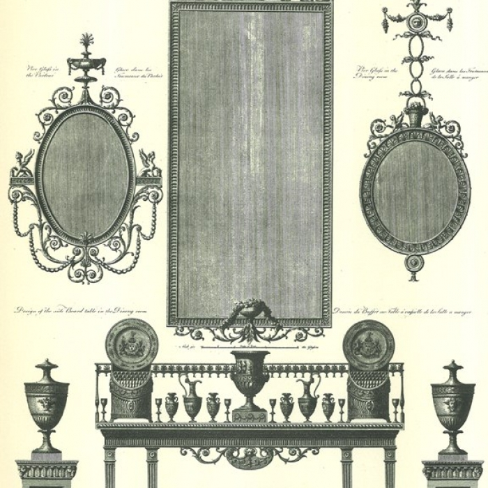 Engraving showing an arrangement of furniture from Kenwood in Hampstead from 'The works in architecture of Robert and James Adam'