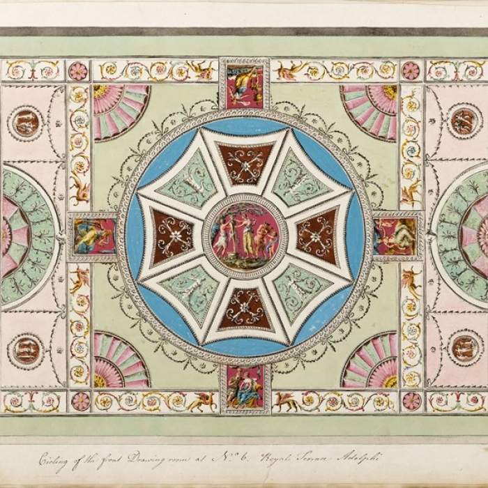 Adam design for the front drawing-room ceiling in David Garrick's house