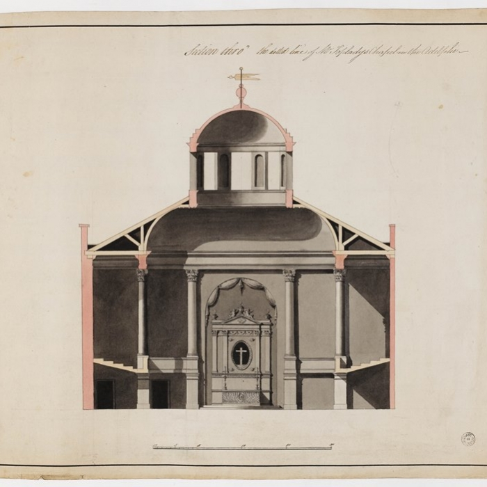 Finished drawing for the section of a chapel intended to be built in the north-west corner of the Adelphi complex for Augustus Toplady