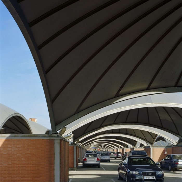 Photograph of the curving domed roof structures of Atocha Station