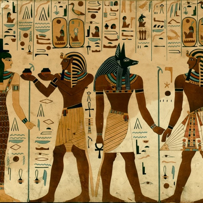 A drawing of Egyptian figures and heiroglyphics