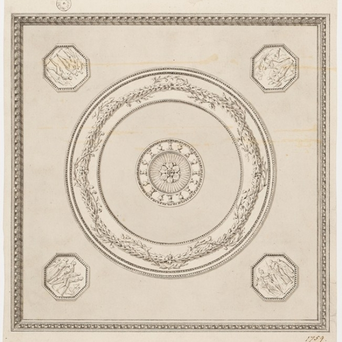 Drawing showing a ceiling for the lesser dining parlour at Hatchlands in Surrey