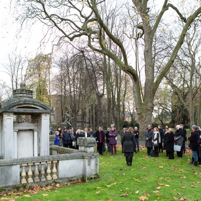 Laying a wreath at the Soane family tomb