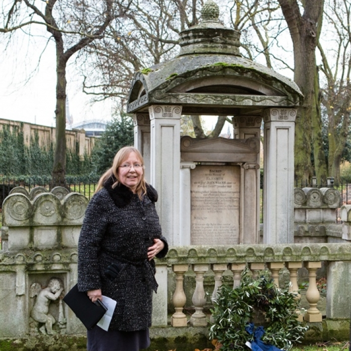 Helen Dorey giving a speech at Eliza Soane's wreath laying to mark 200 years since her death