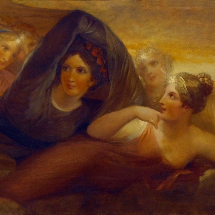 A black-veiled figure of Night on the ceiling of the Dining Room at 13 Lincoln's Inn Fields is thought to be a portrait of the deceased Eliza