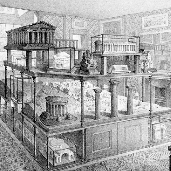 An engraving of how the Model Room looked in Soane's Day, as recorded in the 'Complete Description' Soane produced in 1835