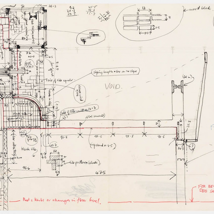 Kenneth Frampton, annotated plan of Maison de Verre (Pierre Chareau), 1965. Kenneth Frampton fonds, Canadian Centre for Architecture, gift of Kenneth Frampton © Kenneth Frampton.