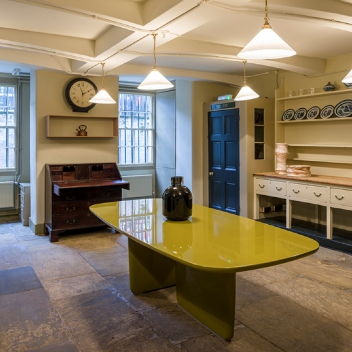 View of the Soane Museum front kitchen showing the contemporary design pieces installed for the exhibition