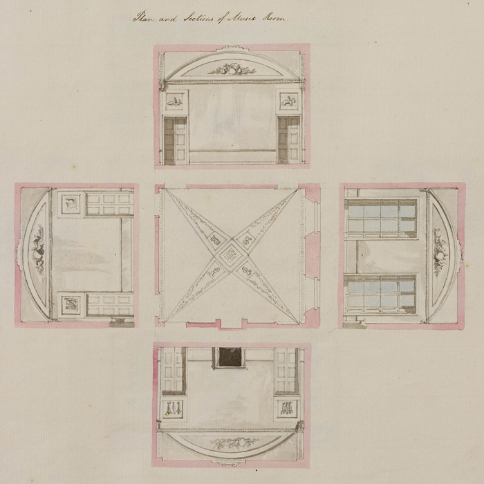 An architectural drawing comprised of four section drawings of each wall around a central diagram of the ceiling