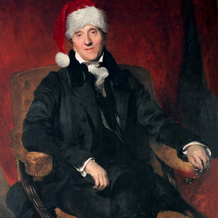 The famous Lawerence portrait of John Soane with the addition of a festive Christmas hat
