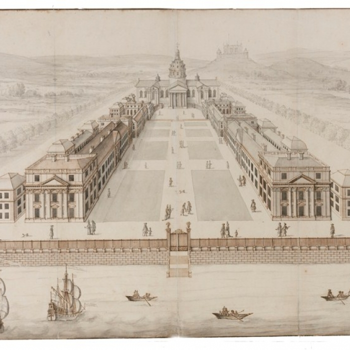 Drawing showing a perspective view of a design for Greenwich Royal Hospital