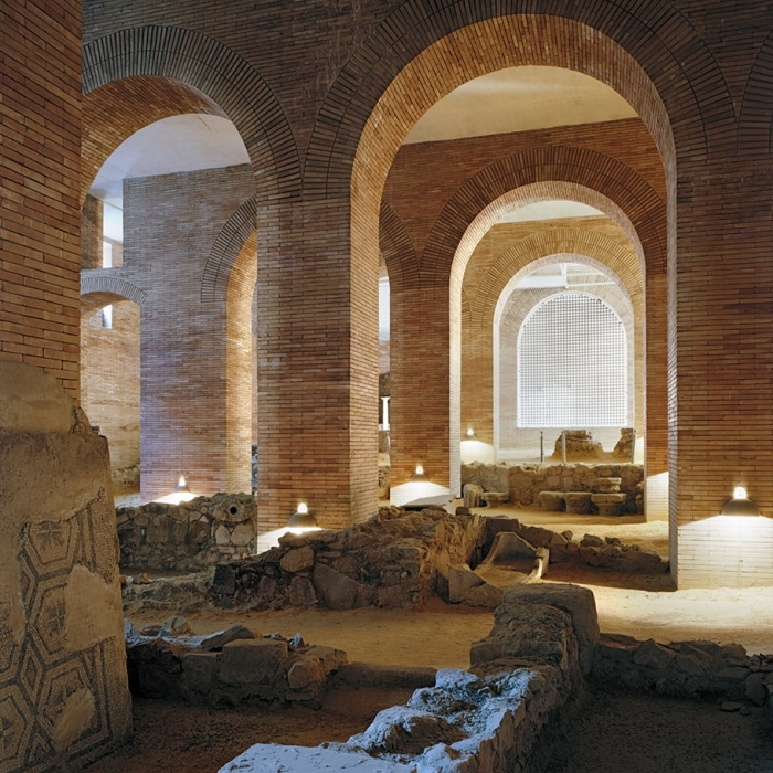 Interior photograph of the National Museum of Roman Art in Merida, a building of brick arches