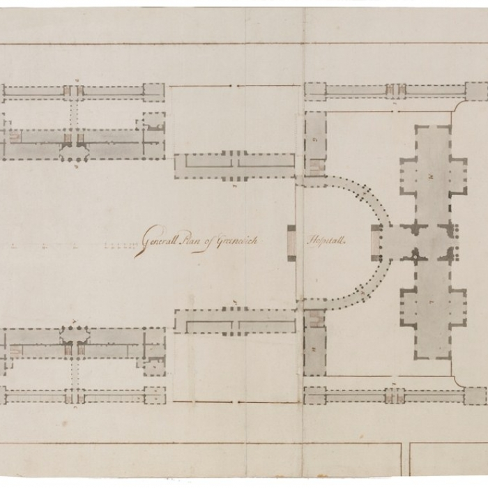 Drawing showing a plan of a design for the Greenwich Royal Hospital