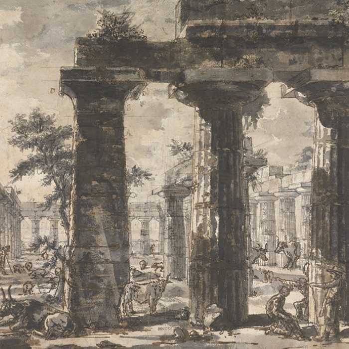 Giovanni Battista Piranesi, (1720 - 1778), Paestum (Italy), Basilica: view of interior from the E, with the pronaos in the foreground and Temple of Neptune to the right, study for Différentes vues de Pesto..., plate VI, c.1777-78