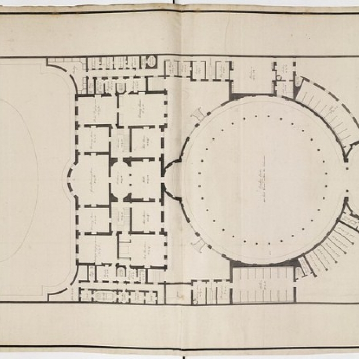 Drawing showing a plan for Portland House, its walled garden, stable court and gateway