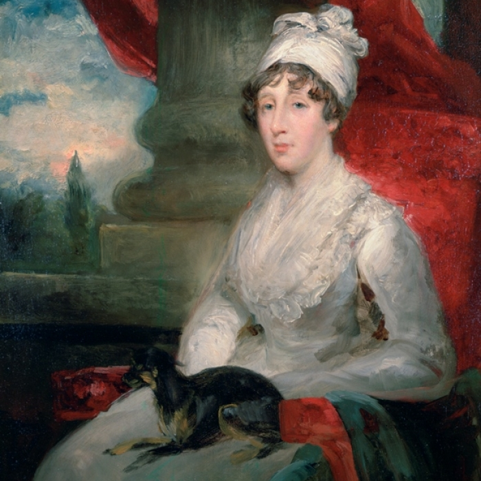 Posthumous portrait of Eliza with her beloved pet dog Fanny on her lap, by John Jackson, 1831