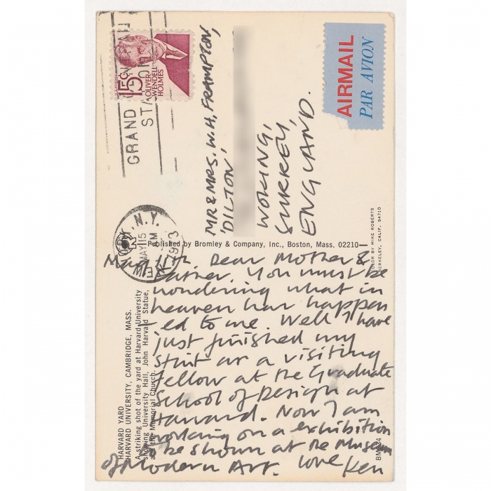 Back of a postcard with writing on it