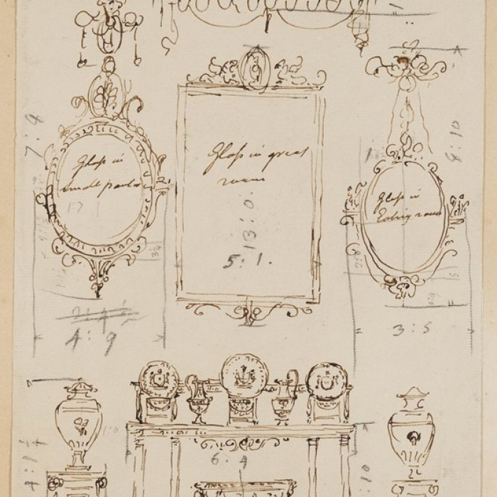 Rough drawing showing an arrangement of furniture from Kenwood in Hampstead for inclusion in 'The works in architecture of Robert and James Adam'