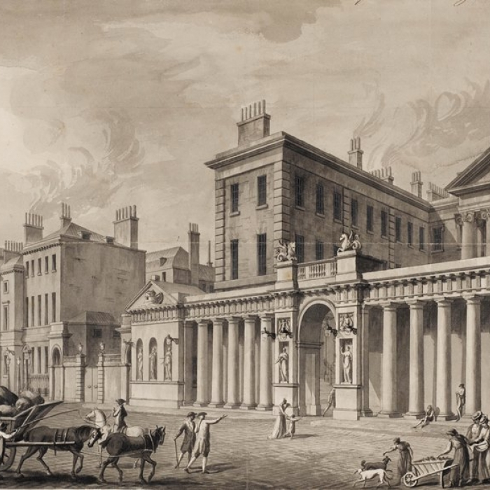 Drawing  showing the Admiralty Screen, Whitehall, 1759, made by the office of Robert Adam