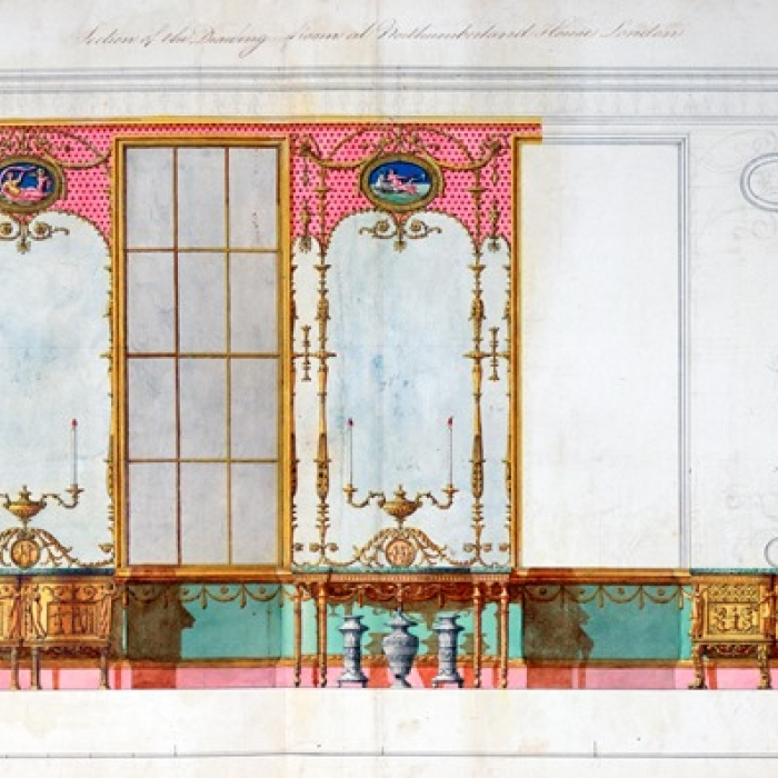 Design for the window wall of the glass drawing room at Northumberland House, Strand, made by the office of Robert Adam