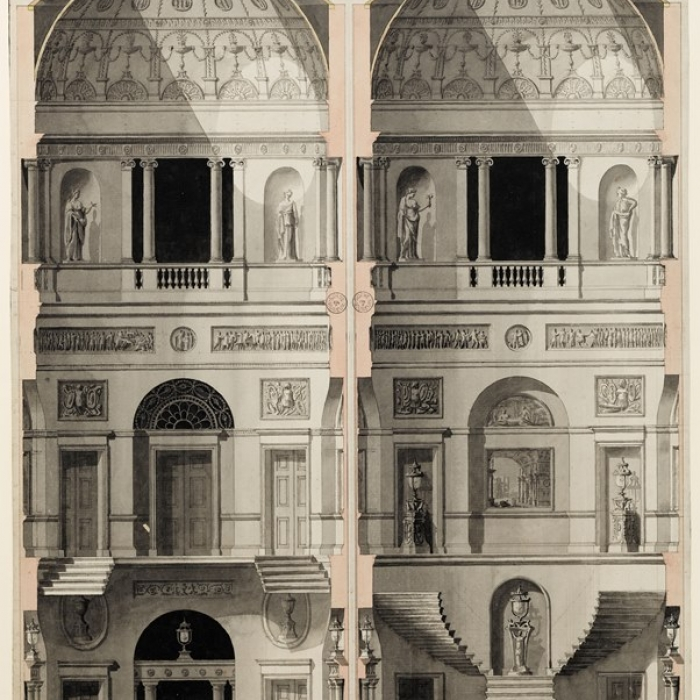 Finished drawing showing sections of the stairwell at 20 Portman Square, made by the office of Robert Adam
