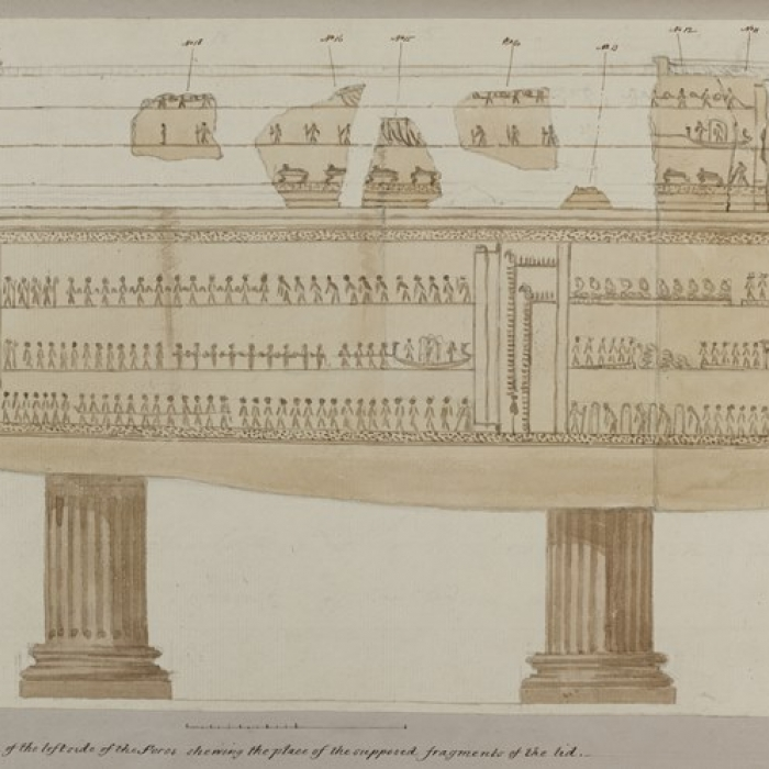 Joseph Michael Gandy, View of the left side of the sarcophagus, with hypothetical placement of fragments of the lid, Nov 18 1825.  © The Trustees of Sir John Soane's Museum