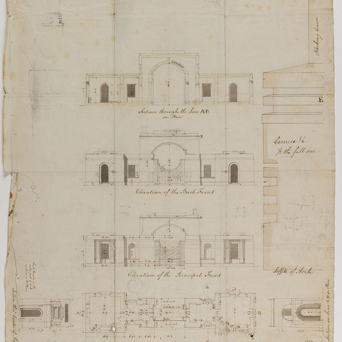 Three detailed elevations with annotations of an architectural construction