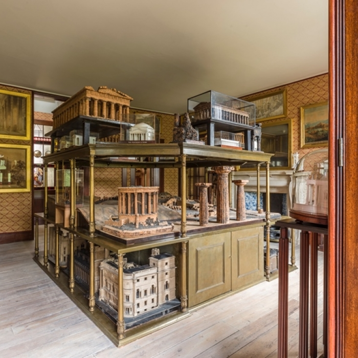 The Soane Museum's Model Room showing the model stand with a number of architectural models on display
