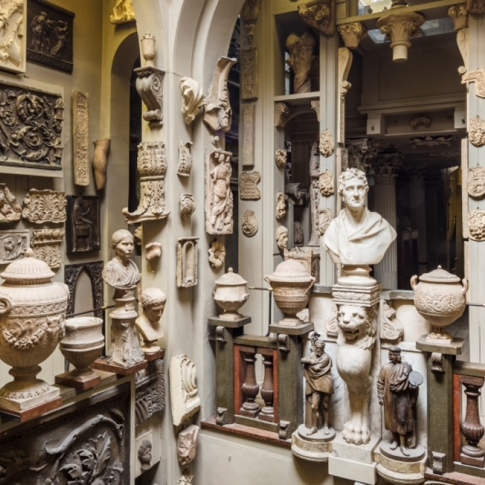The Soane Museum's Dome Area featuring a vast number of objects including the Soane bust in the centre