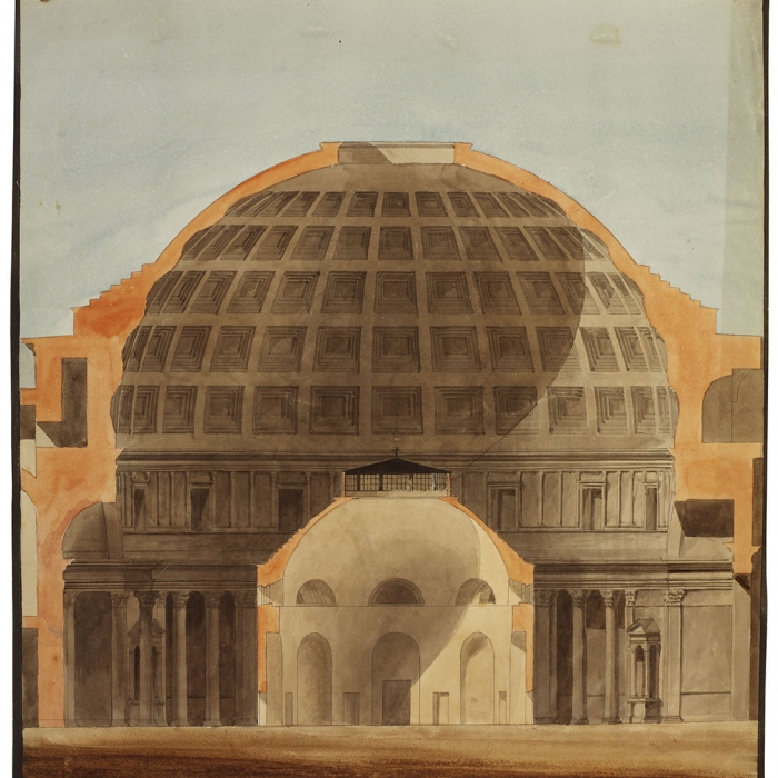 Drawing comparing a section of the Pantheon to a section of the Rotunda at the Bank of England