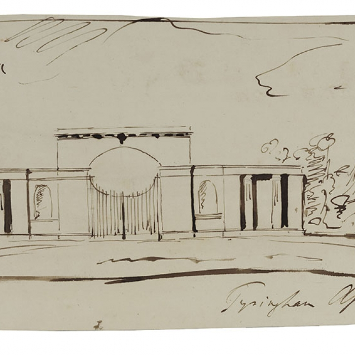 A rough drawing by Soane showing a building in a landscape