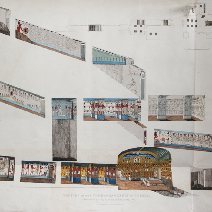 Plan and section through the tomb of Seti I from Plates illustrative of the researches and operations of G. Belzoni in Egypt and Nubia