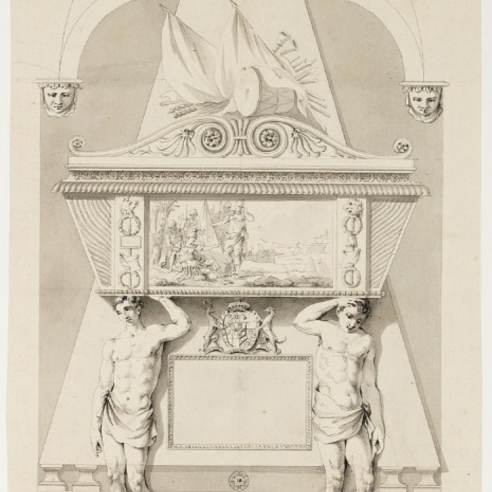 Drawing for a death scene relief panel for a a funerary monument to Lieutenant-Colonel Roger Townshend for Westminster Abbey