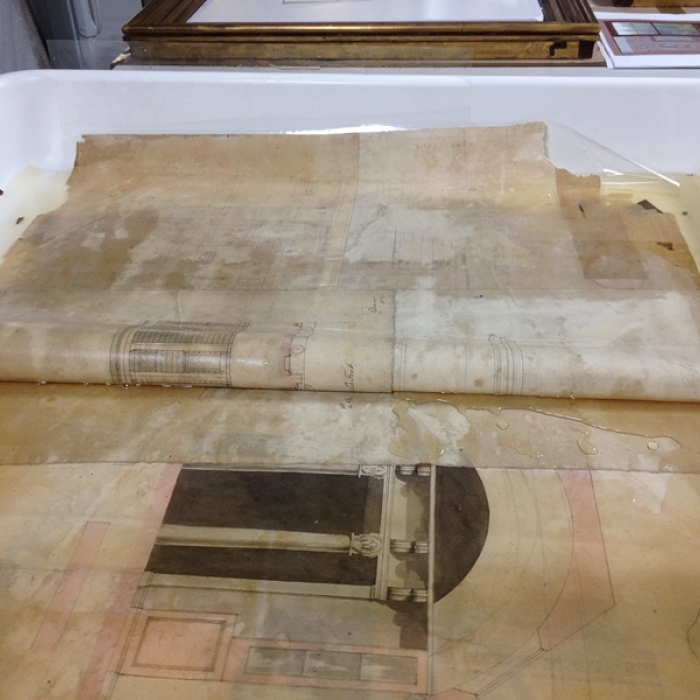 Photographs of the drawings discovered in the back of a watercolour by Gandy