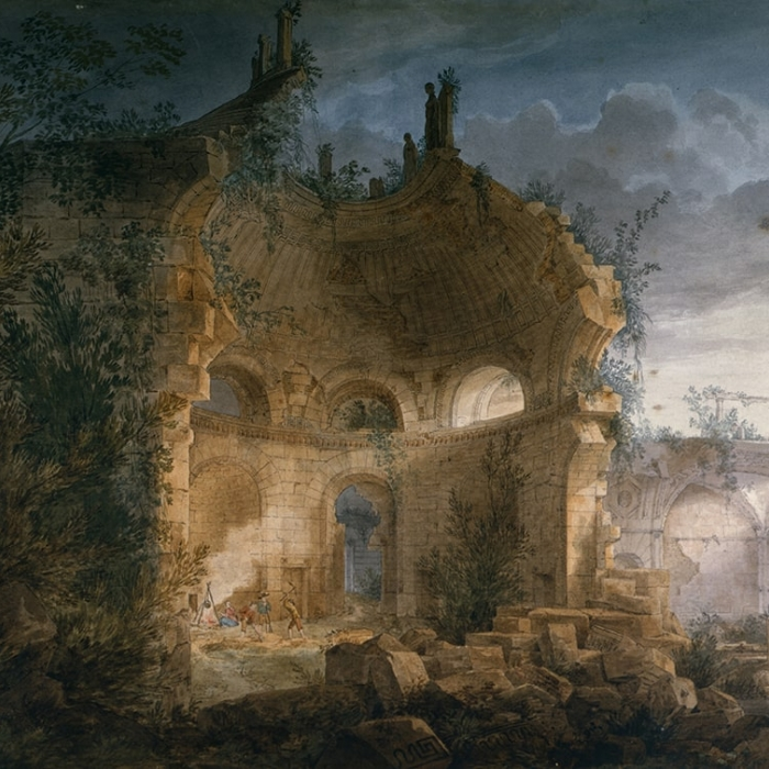 A painting showing Soane's design of the Bank of England, imagined as crumbling ruins