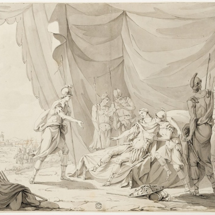 Drawing for a death scene relief for the funerary monument to Major-General James Wolfe for Westminster Abbey