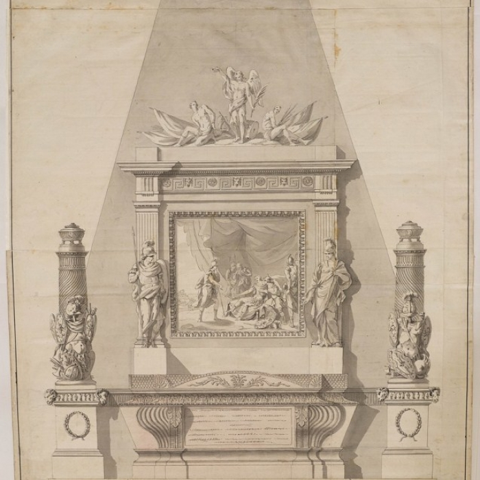 Drawing for a funerary monument to Major-General James Wolfe for Westminster Abbey