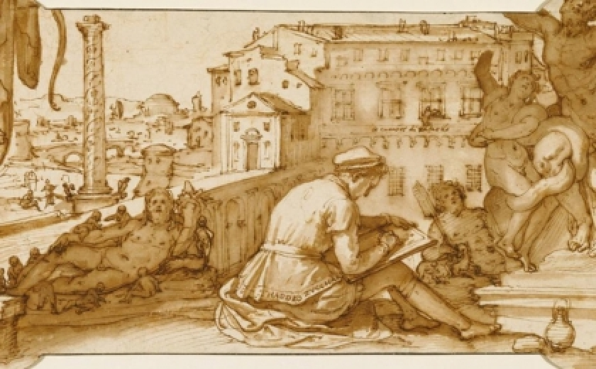 Drawing of an artist drawing from statues, by Federico Zuccaro
