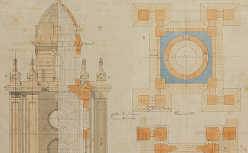 Soane Office, St John's, Bethnal Green, London, plan, elevation, and section of the truncated tower, c. 1826 SM 47/5/16 © Sir John Soane's Museum / Ardon Bar-Hama