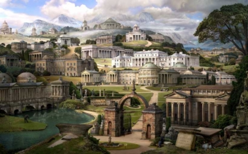 A photo collage by Emily Allchurch using photographs of Soane's finished buildings to recreate a painting of the same subject by Soane's illustrator JM Gandy.