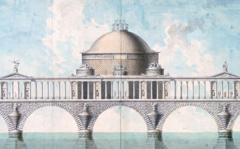 Design for a monumental bridge to cross the River Thames by John Soane