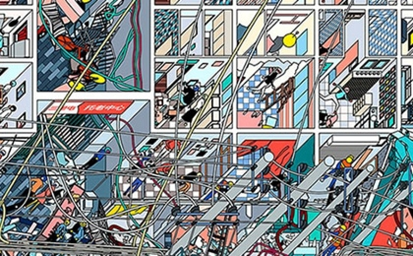 Detail of Li Han's 'The Samsara of Building No 42 on Dirty Street'. This image is a top down, incredibly detailed drawing of a building undergoing works. It is almost so detailed as to be an abstract piece of work.